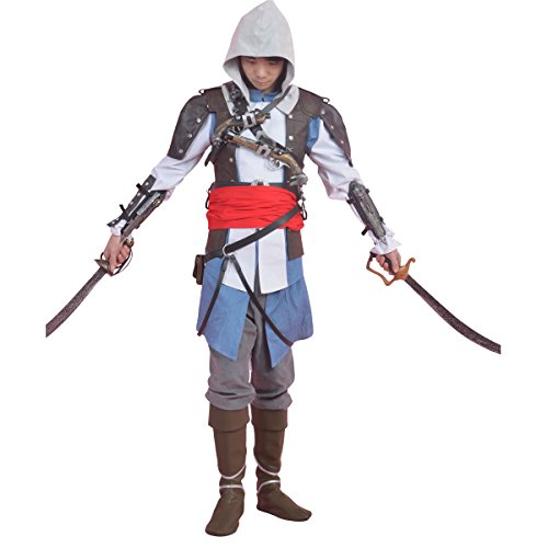 [MLYX Men's Assassins Creed 4 Black Flag Edward James Kenway Cosplay Costume (XXX-Large, Dim Grey)] (Assassins Creed Iv 4 Black Flag Edward Kenway Cosplay Costume)