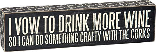 Primitives by Kathy 25143 Drink More Wine. Crafty with The Corks Box Sign