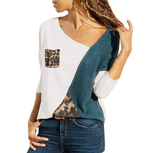 Womens Blouse Plus Size Ladies Long Sleeve Stitching V-Neck Tops Pocket Color Block Leopard Sweatshirt Yamally