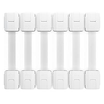 Child Safety Locks to Baby Proof Cabinets, Fridge, Refrigerator, Toilet, 6 Pack