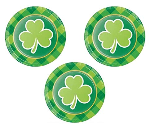 (St. Patricks Day Paper Plates with Plaid Border Dessert Appetizer Cocktail Party Supplies 24 Count Features Green)