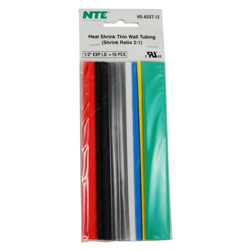 NTE Electronics HS-ASST-12 Thin Wall Heat Shrink Tubing Kit, Assorted Colors, 6'' Length, 1/2'' Dia, 10 Pieces