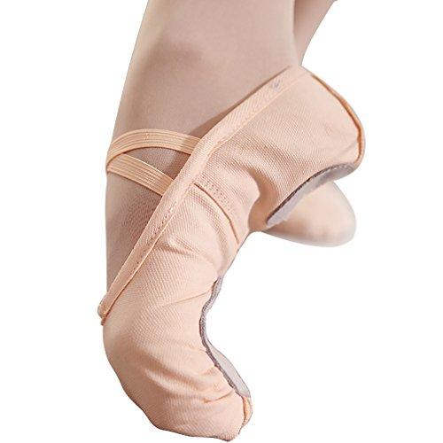 Ballet Slippers for Women Canvas Ballet Shoes Dance Shoes Split Sole Yoga Shoes(Nude, US7 Women)