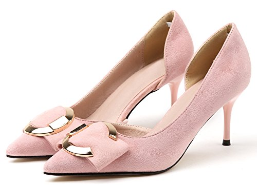 BIGTREE High Heels Shoes by Women Pointed Toe Sandals D'Orsay Metal Buckle Stiletto Elegant Dress Pumps Court Shoes Pink mBwDeGY