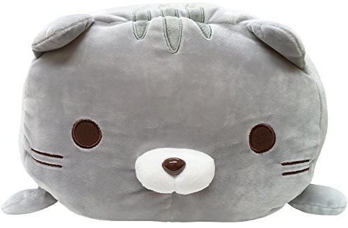 YAMANI Japanese Sasurai No Tabineco Mr. Mikemura Fuwa Mochi Super Cute, Soft & Squishy Large Stuffed Plush Animal Series (Gray Cat (Amemori)) - Fuwa Plush