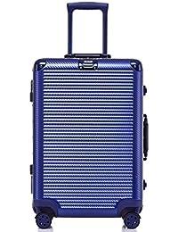 Aluminum Frame Luggage, Durable PC Hardshell TSA Approved Spinner Suitcase 28 Inch Blue