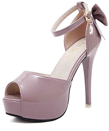 Easemax Women's Sweet Burnished Peep Toe Pendant Buckle Strap Bows Platform High Stiletto Heel Dress Pumps Shoes Pink 7 M -