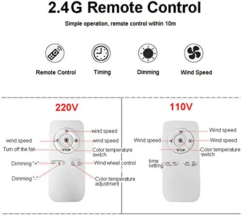 Ceiling Fan with Lighting, Fan Ceiling Fan LED Light, Adjustable Wind Speed, dimmable with Remote Control, 80W Ceiling Light led Ceiling lamp for Bedroom Living Room Dining Room
