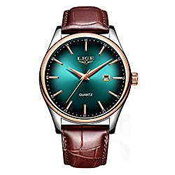 Mens Watches Luxury Simple Calendar Clock All Steel Or Leather Strap Waterproof Clock Quartz Wristwatch (Brown Green)