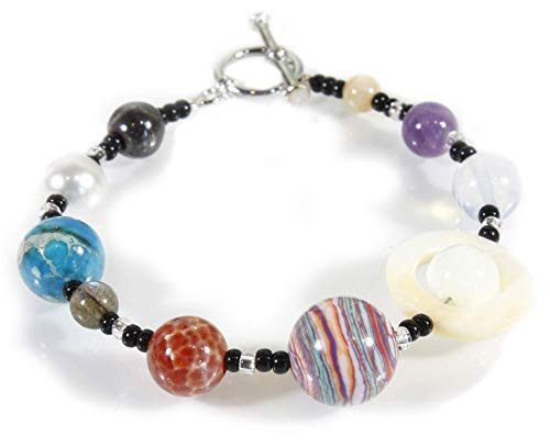The Original Nine Planets Bracelet, the Solar System in Natural and Simulated Stones