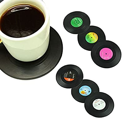 Morecome 6Pcs/Set Spinning Retro Vinyl Record Drinks Coasters / Vinyl Coaster Cup Mat