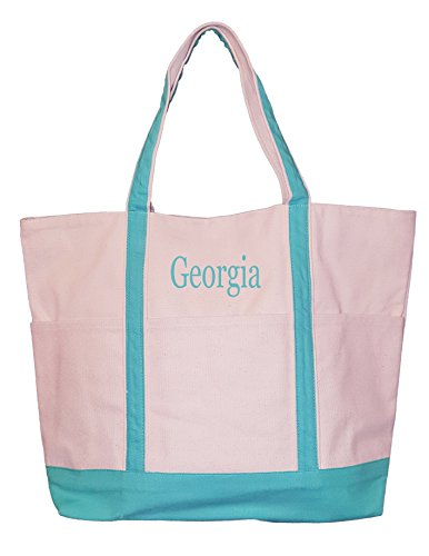 Custom Canvas Tote Bag (Heavy Duty 16 oz Canvas Natural Boat Bag Tote with Color Trim - Custom Available (Seafoam - Embroidery Name))