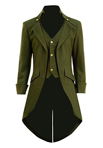 Very Last Shop Mens Gothic Tailcoat Jacket Black Steampunk Victorian Long Coat Halloween Costume (US Men-XXXL, Army Green(Woolen))]()