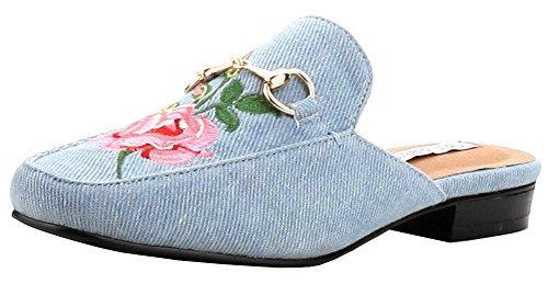 CAPE ROBBIN Women's Slip On Floral Embroidered Mules (8.5 B(M) US, (Shoe Blue Denim)