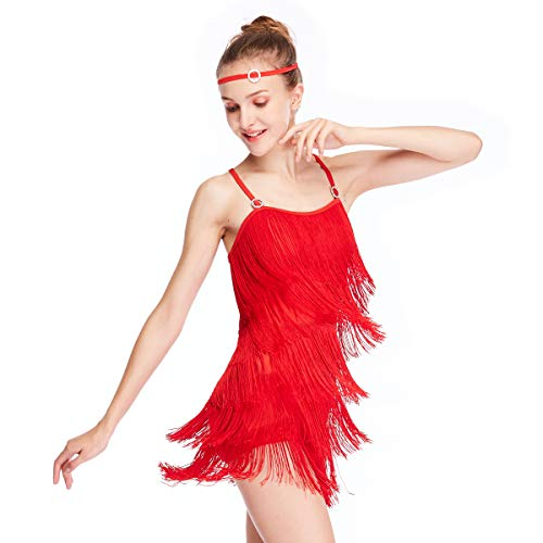 MiDee Latin Costume Dance Dress Camisole 5 Tires Fringed Flowying (MA, Red)