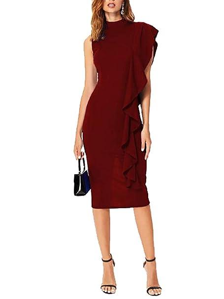 on sale 67fda 770bd MYWY Abito Longuette Elegante Vestito Donna Sexy Senza ...