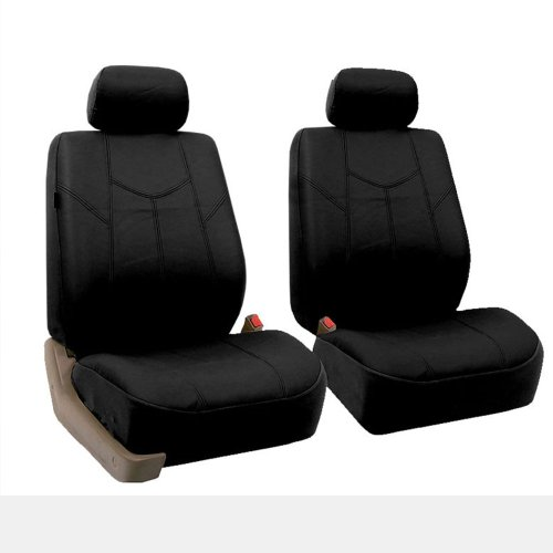 (FH Group FH-PU009102 Rome PU Leather Pair Set Car Seat Covers, Airbag Compatible, Solid Black - Fit Most Car, Truck, SUV, or)