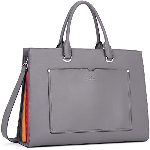 CLUCI Briefcase for Women Leather Slim 15.6 Inch Laptop Business Shoulder Bag Gray