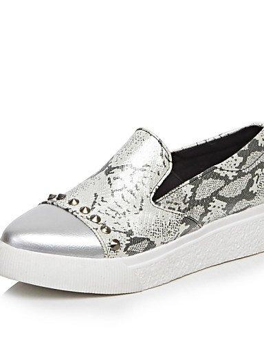 ZQ gyht Zapatos de mujer-Plataforma-Creepers / Punta Redonda-Mocasines-Casual-Semicuero-Negro / Gris , gray-us10.5 / eu42 / uk8.5 / cn43 , gray-us10.5 / eu42 / uk8.5 / cn43 black-us8 / eu39 / uk6 / cn39