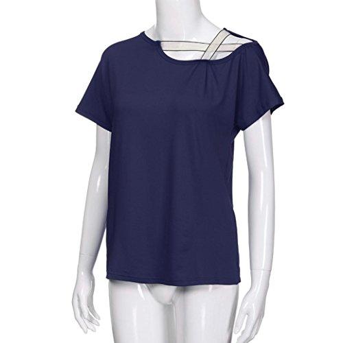 Chemisier Tops Marine Ouvert Lache T Blouse Fille Shirt Tops Col t Guesspower Chic Manches paule Hors Rond Femme paules Courte Casual Courte Haut B0npqR8