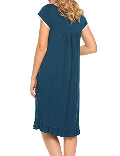 Women's Night Gowns Short Sleeve Button-Down Sleepshirt House Dress,Blue,Large by DonKap (Image #4)