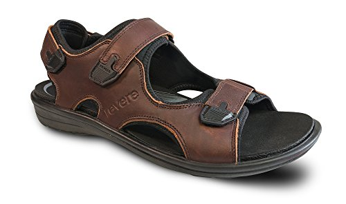 Revere Montana II Mens Comfort Sandal With Removable Foot Bed and Adjustable Strap Leather Velcro Whiskey btOyPm