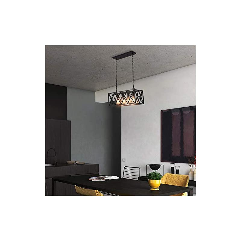 Industrial Kitchen Island Pendant Lighting, Pynsseu Rectangular Vintage Rustic 4-Light Hanging Pendant Light Fixtures…