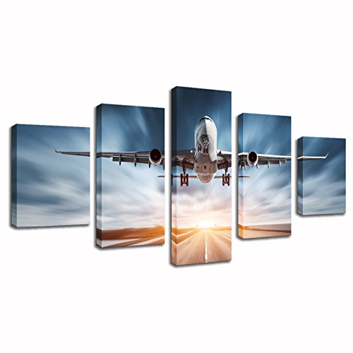 - KLVOS - Xlarge 5 Panels Modern Wall Art Modern Airplane Landing on the Airport Abstract Office Wall Decor Canvas Printed Stretched and Ready to Hang 32