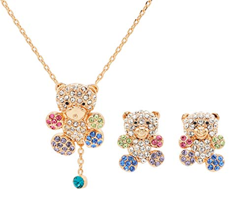 Gold Plated Cute CZ Teddy Bear Pendant Necklace and Earrings Jewelry Set for Girls Gift (Gold Plated Teddy Bear Necklace)