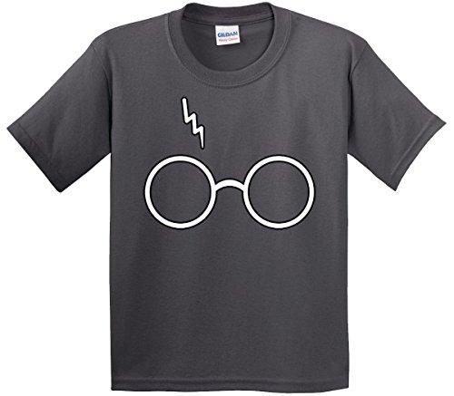 New Way 836 - Youth T-Shirt Harry Potter Glasses Scar Lightning Bolt Medium Charcoal (Harry Potter T Shirt Kids)