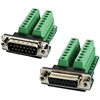 Twinkle Bay DB15 Connector to Wiring Terminal Db15 Breakout Board Solder-free (Male Adapter x 1, Female Adapter x 1 with Nut)