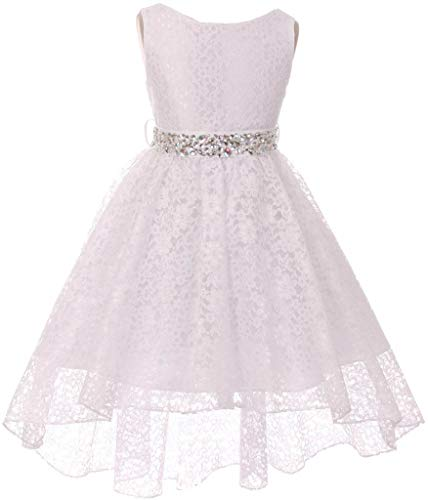 Big Girl Floral Lace Rhinestones Christmas Holiday Easter Flower Girl Dress White 14 MBK360