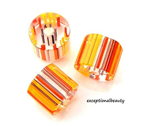 20 Blown Cane 11x9mm Glass Tube Slice Chub Yellow Orange Purple Striped Beads
