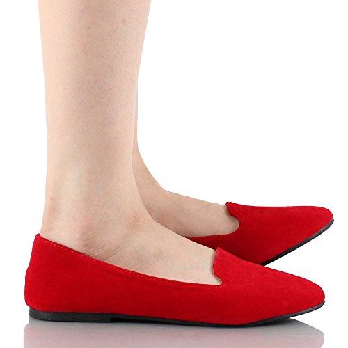 Für immer Frauen Diana-81 Ballett Loafer-Flats Schuhe rot