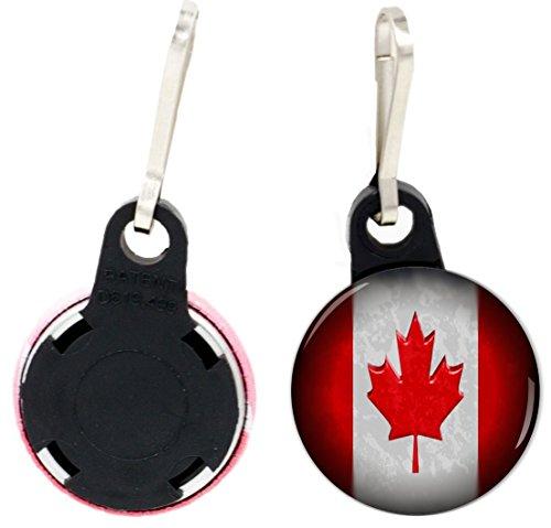 Rikki Knight Canadian Flag Design 1 inch Zipper Pull Button (set of 4) - Flag Zipper Pull