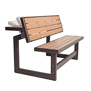 Convertible Wood Park Bench, Table Conversion, Picnic Table, Weather-, UV-, Rust-, Resistant, Powder Coated Steel Frame, Sturdy and Durable