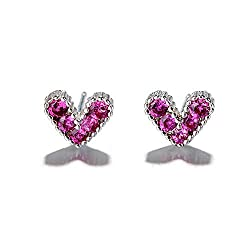Silver Crystal Love Heart Stud Earrings
