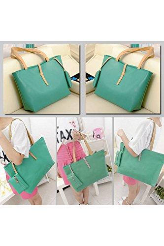 TOOGOO(R)Grande verde del bolso de hombro del bolso PU Bolsa de piel con el pequeno bolso Monedero de la Mujer