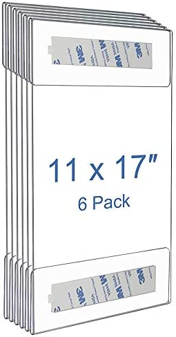 Niubee 6 Pack Acrylic Sign Holder 11 x 17 inches Wall Mount Sign Holders Clear Acrylic Frame3M Tape Adhesive Clear Poster Frames Plastic Sign Holder for Office Home Restaurant Vertical