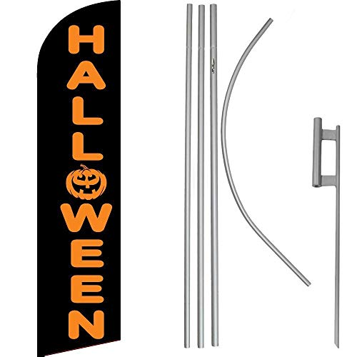 ALBATROS Halloween Black Orange Windless Banner Flag with 16in Flagpole Kit/Ground for Home and Parades, Official Party, All Weather Indoors Outdoors]()