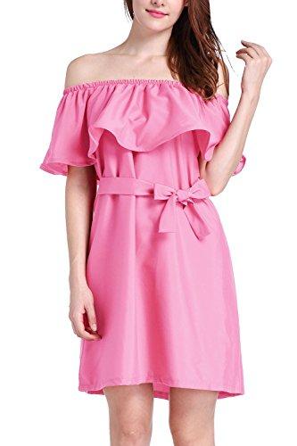 Vestido elegante mosaico suelto de las mujeres Pink