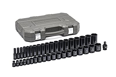 "GearWrench 84947N 39 Pc. 1/2"" Drive 6 Point Standard & Deep Impact SAE Socket Set, Black"