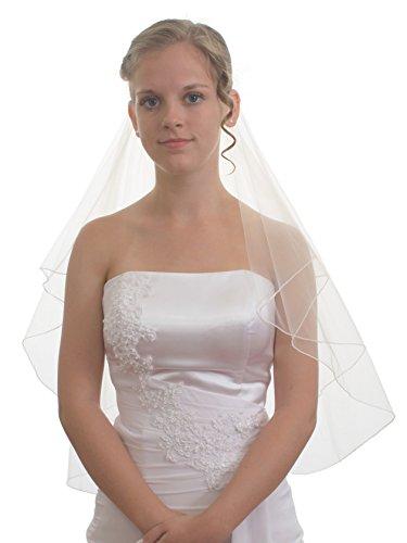 SparklyCrystal Women's Bridal Wedding Veil 2 T Pencil Edge Elbow Length VE5B2