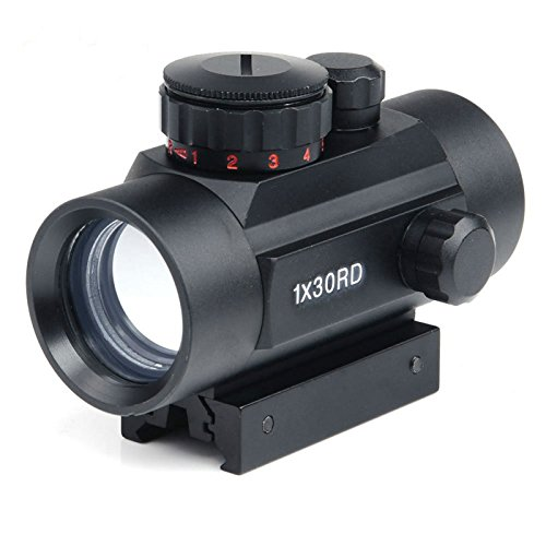 NIUDB Rifle scope 1x30mm Red Dot Sight with 22mm Weaver Picatinny Mount Five Brightness Settings Illuminated red Reticle for Hunting Spotting Aiming Positioning