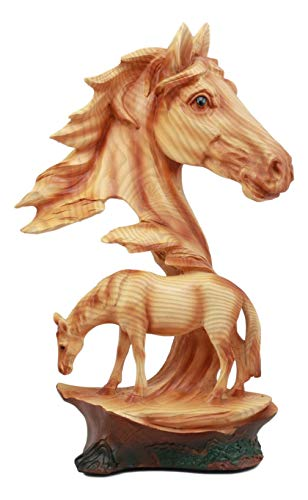 Ebros Wildlife Scene Stallion Horse Bust Statue 12.5