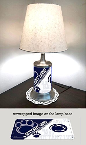 - JS Table Lamp with Shade, Penn State Nittany Lions Plate Rolled in on The lamp Base