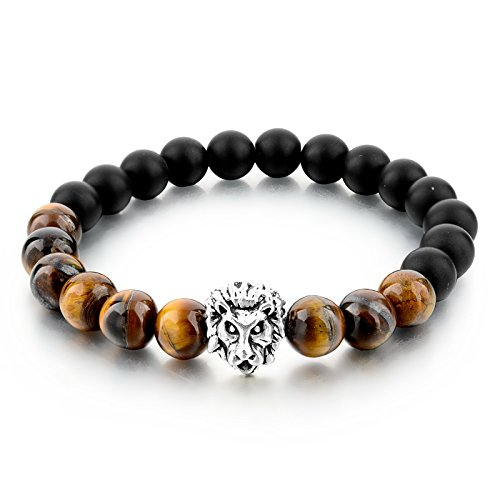 Hot And Bold Good Luck Tiger Charm Natural Stone Beads Reiki Positive Energy Bracelet.