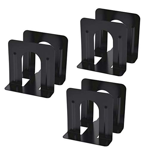 (3 pairs Black Bookend Supports Metal Non-Slip Bookend Bracket Heavy Book End Office Book Stopper Great for Bookshelf Office School Library (3 pairs))