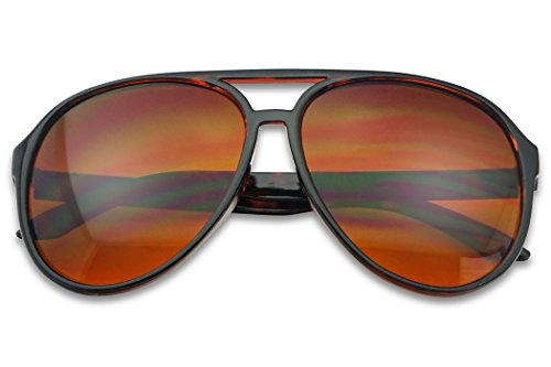 (Sunglass Stop - Blue Blocking Over sized Round Bomber Aviator Sunglasses Amber Tinted Lens (Tortoise, Amber (Blue Buster)