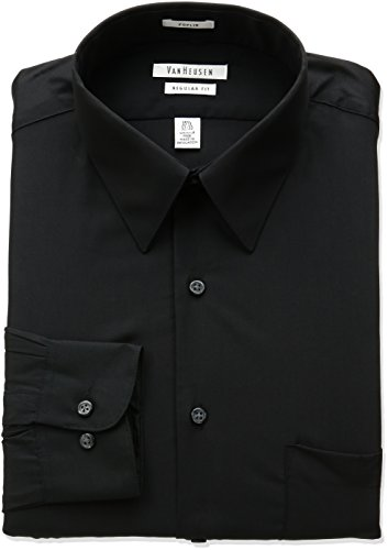 Van Heusen Regular Fit Long Sleeve Dress Shirt BLACK 16.5 Nk 32-33 Sl -